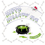 Happy Hallows' Eve. Halloween party invite flyer or stationary card vector illustration