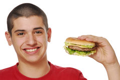 Happy Hamburger Stock Photography