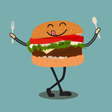 Happy Hamburger Cartoon Character Waving Stock Images