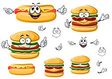 Happy hamburger, hot dog and cheeseburger. Happy fast food hamburger, hot dog and cheeseburger cartoon characters. For takeaway and fast food menu design Royalty Free Stock Image