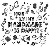 Happy handmade black and white card Royalty Free Stock Photos