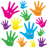 Happy hands. Vector isolated s illustration of group of colorful child hands with happy smiling faces on white background royalty free illustration