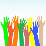 Happy hands multicolored vector on blue background Royalty Free Stock Photos