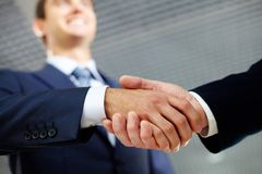 Happy handshake Royalty Free Stock Photos