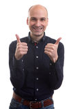 Happy handsome bald man thumbs up Royalty Free Stock Photo