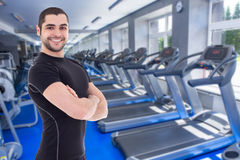 Happy handsome bearded arabic man in gym Royalty Free Stock Images