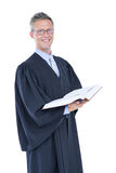 Happy handsome lawyer holding labor code. On white background Stock Images
