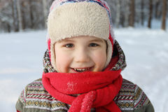 Happy handsome little boy with red scarf and hat smiles in fores Stock Images