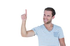 Happy handsome man gesturing finger up Royalty Free Stock Photography