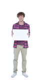Happy handsome man holding blank paper Stock Photography