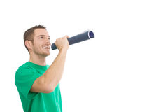 Happy handsome man with megaphone Royalty Free Stock Photography