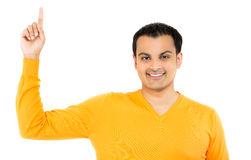 Happy handsome man pointing up Royalty Free Stock Photos