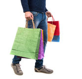 Happy handsome man with shopping bags Royalty Free Stock Photography