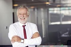 Happy handsome old businessman standing and smiling in office stock photo