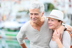 Happy handsome senior couple on a trip Royalty Free Stock Photo