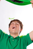 Happy Handsome Teenager in Green Stock Images