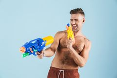 Happy handsome young shirtless man stock photos