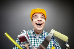 Happy handyman Royalty Free Stock Photos