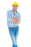 Happy handyman standing arms crossed Stock Image