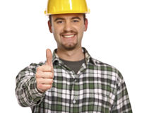 Happy handyman thumb up Royalty Free Stock Photos