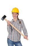 Happy handywoman Stock Photo