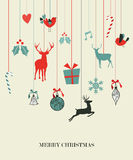 Happy hanging Christmas set vector illustration