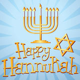 Happy Hannukah. Illustration of a Menorah and the star of David, with custom-designed text Stock Photos