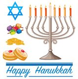Happy Hannukkah theme with doughnuts and lights. Illustration Royalty Free Stock Image