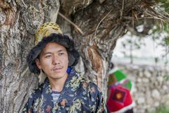 Happy and hansome young man in tradtional dress. In spiti, india Royalty Free Stock Photos