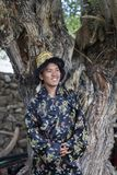 Happy and hansome young man in tradtional dress. In spiti, india Stock Photography