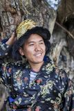 Happy and hansome young man in tradtional dress. In spiti, india Stock Photos