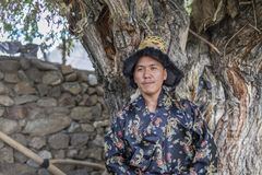 Happy and hansome young man in tradtional dress. In spiti, india Royalty Free Stock Images