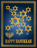 Happy hanukkah. Detail illustration of a blue and gold happy hanukkah card