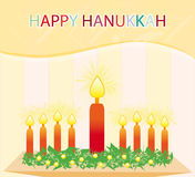 Happy hanukkah. A happy hanukkah postcard design with colourful text and candles