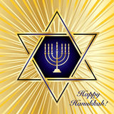 Happy Hanukkah. A Happy Hanukkah card template in blue and gold