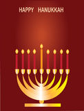 Happy hanukkah. Candlestick with candle on the brown background Royalty Free Stock Image