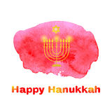 Happy Hanukkah background. Happy Hanukkah background with candles and David Star on a watercolor background red spot. Vector illustration Royalty Free Stock Photo