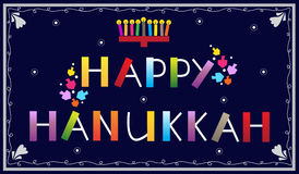 Happy Hanukkah. Banner with menorah and dreidels. Eps10 Royalty Free Stock Photos