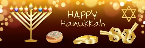 Happy hanukkah banner, realistic style stock illustration
