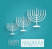 Happy Hanukkah blue poster. Handwritten text Stock Photography