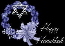 Happy Hanukkah Blue Wreath Background Royalty Free Stock Photo
