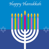 Happy Hanukkah card. Modern design style with menorah. Eps available Royalty Free Stock Photography