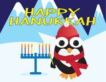 Happy Hanukkah card. Cute penguin standing near a blue menora with colorful candles, holding green candle stock illustration