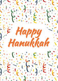 Happy Hanukkah card with exploding party popper, colorful serpentine and confetti on background stock illustration