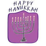 Happy Hanukkah card hand drawn. With candels end lettering Royalty Free Stock Photo