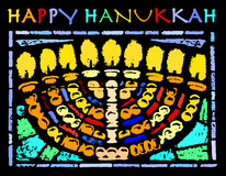 Happy Hanukkah Card with an Hannukia Stock Photo
