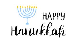 Happy Hanukkah card with lettering text and menorah with 9 candles on white background. Happy Hanukkah card with lettering text and menorah with 9 candles on Royalty Free Stock Photo