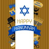 Happy Hanukkah card with photo booth stickers. Accessories for festival and party.