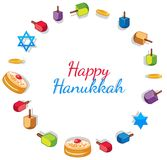 Happy Hanukkah card template with toys and donuts Stock Image