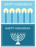Happy Hanukkah cards. Set of two greeting cards for Hanukkah isolated on white background.EPS file available Stock Photo